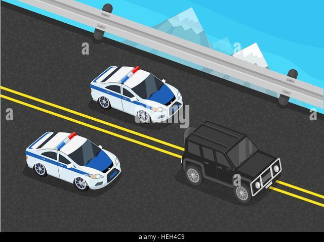 Isometric police motorcade car flat design. 3D police guard, motorcade escort, policeman in car, 3d cortege police - Stock-Bilder