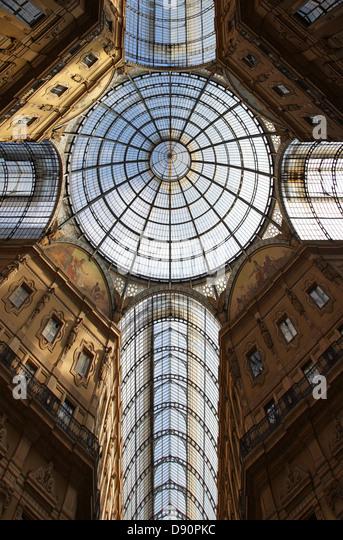 Ceiling of Vittorio Emanuele II gallery, Milan, Italy - Stock Image