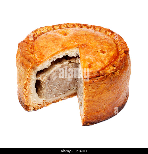 Pork pie with slice cut out - Stock Image