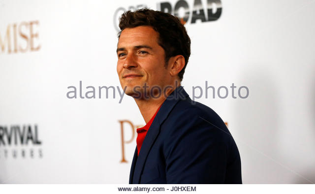 Actor Orlando Bloom poses at the premiere of 'The Promise' in Los Angeles, California U.S., April 12, 2017. - Stock-Bilder