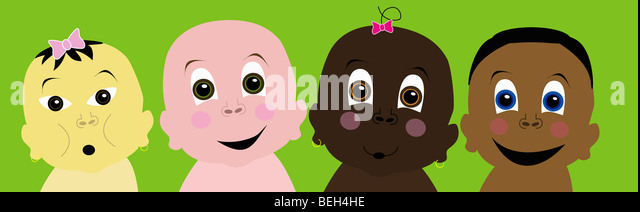 Multi-ethnic babies, illustration - Stock-Bilder