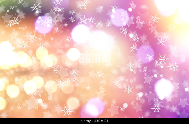 Decorative Christmas background with snowflakes and stars - Stock Image