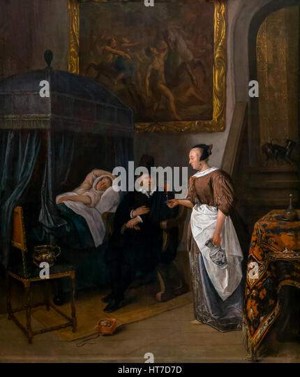 The Doctor's Visit, by Jan Steen, circa 1660-2, Royal Art Gallery, Mauritshuis Museum, The Hague, Netherlands, - Stock Image