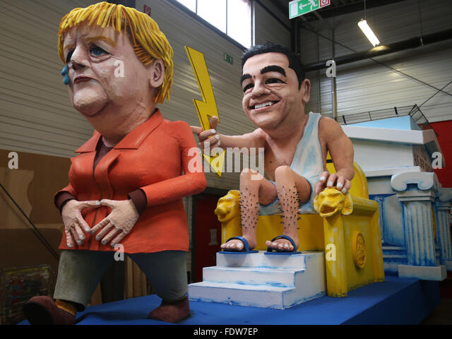 Cologne, Germany. 02nd Feb, 2016. A float featuring figures of German Chancellor Angela Merkel (L) and Greek Prime - Stock Image
