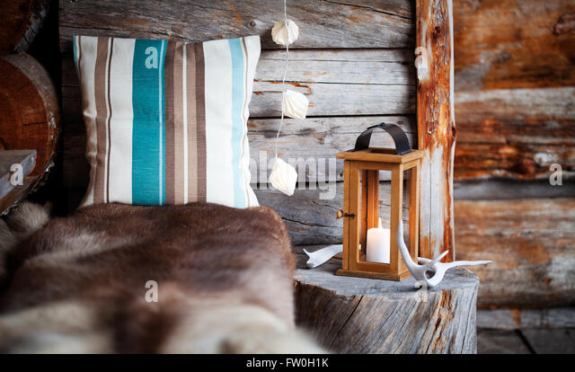 Porch decoration with lantern and reindeer antler - Stock Image