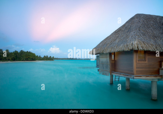 Bungalows over water. Bora Bora. French Polynesia - Stock Image