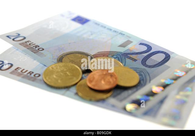 Euros - notes & coins - Stock Image