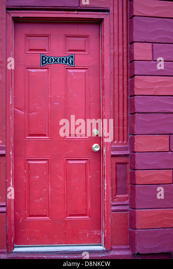 Colorful door labeled 'boxing' - Stock Image