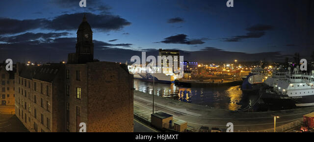 Aberdeen Harbour at Night, Aberdeenshire,Scotland,UK,pano - Stock Image