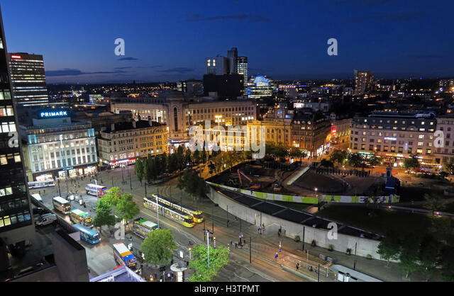 Manchester City night panorama, Lancashire,England, daytime - Stock Image