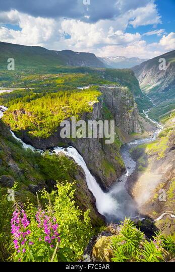 The Voringfossen waterfall, Hordaland, Norway - Stock Image