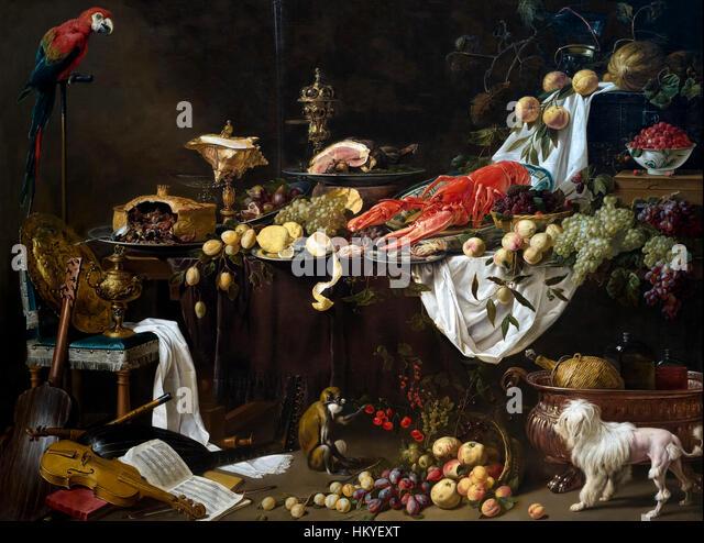 Banquet Still Life, by Adriaen van Utrecht, 1644, oil on canvas, Rijksmuseum, Amsterdam, Netherlands, Europe, - Stock Image