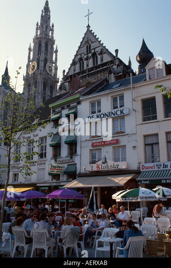 Belgium Antwerp Groen Place outdoor café alfresco dining cathedral buildings architecture - Stock Image