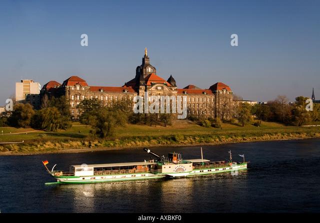 Dresden Koenigsufer Elbe tourist boat state ministry - Stock Image