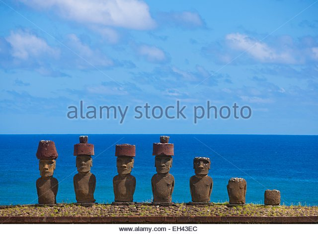 Chile, Easter Island (Rapa Nui), site listed as World Heritage by UNESCO, Ahu Nau Nau At Anakena Beach, was used - Stock Image