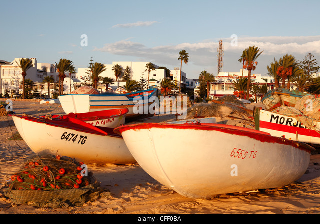 Fishing boats by the harbour, Hammamet, Tunisia, North Africa, Africa - Stock Image