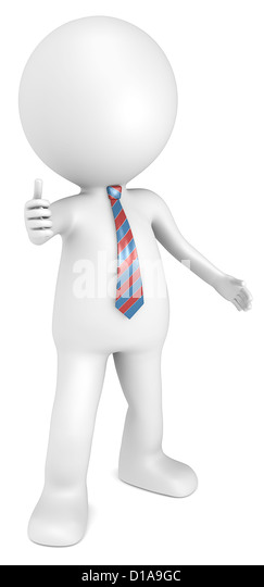 Like. 3D little human character The Boss showing thumbs up. Red and Blue tie. People series. - Stock Image