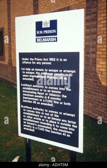 HM Prison Belmarsh, outside London, UK. Sign at front entrance. - Stock Image