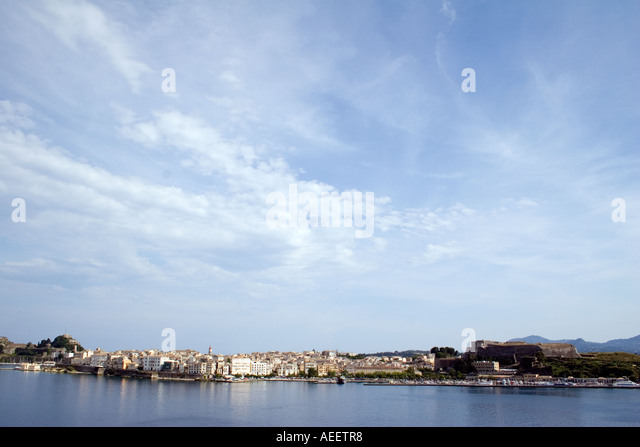 Kerkyra Town with both Old New Fortresses - Stock Image
