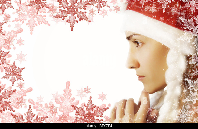 White background with Santa-woman and snowflake - Stock Image
