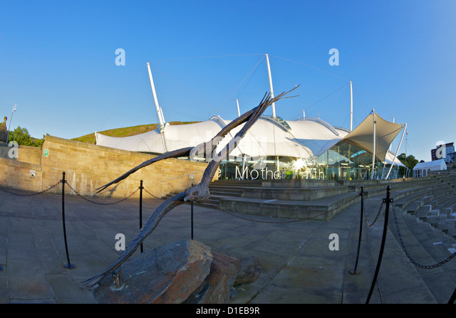 Exterior of Our Dynamic Earth, Holyrood, Edinburgh, Scotland, United Kingdom, Europe - Stock Image
