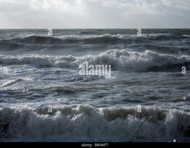Stormy English seascape - Stock Image