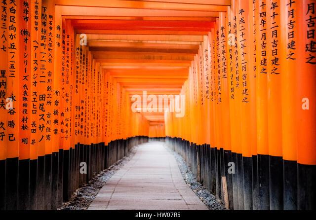 KYOTO, JAPAN -31 DECEMBER 2016- The Fushimi Inari Taisha shrine, located at the base of the Inari mountain, includes - Stock Image
