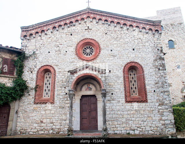 Europe, Italy, Tuscany.  This is the 14th-Century church of San Bartolomeo in the small hillside town of Vertini - Stock-Bilder