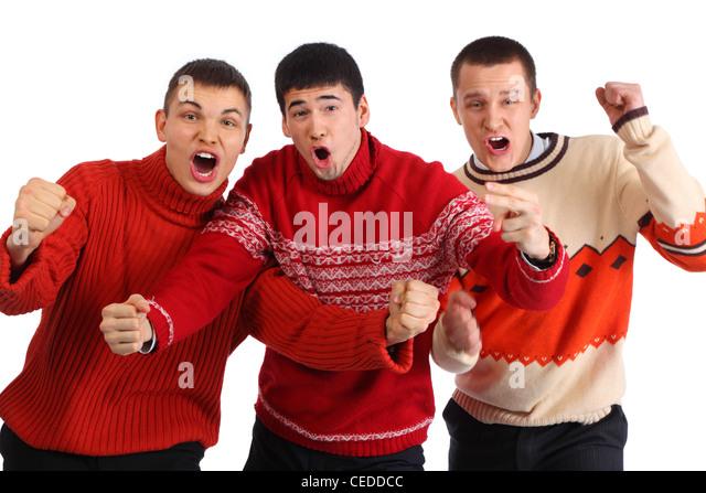 Three aggressive young hooligans - Stock Image