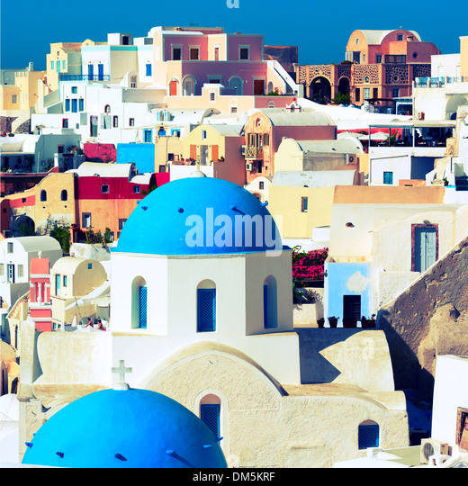 Orthodox church on the island of Santorini, Greece - Stock Image