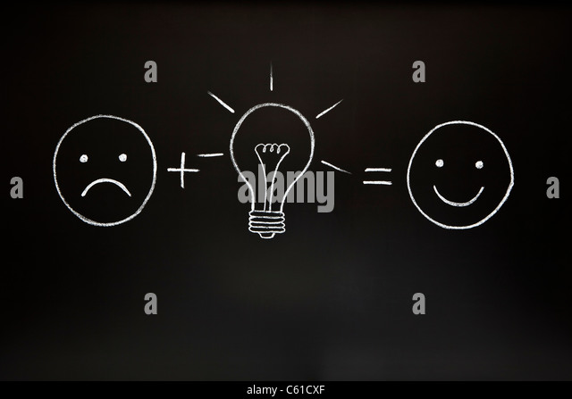 One good idea can change everything! Creativity concept, illustrated with chalk on a blackboard. - Stock-Bilder