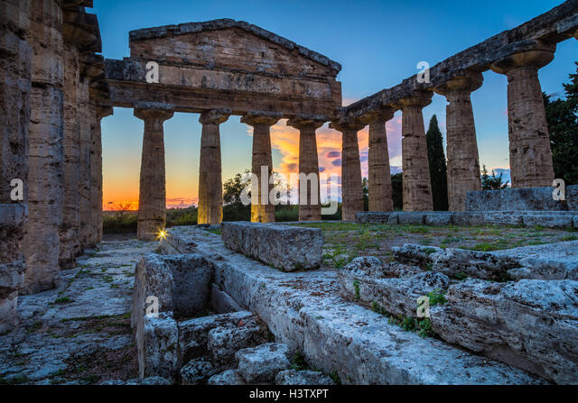 Paestum was a major ancient Greek city on the coast of the Tyrrhenian Sea in Magna Graecia (southern Italy). - Stock Image