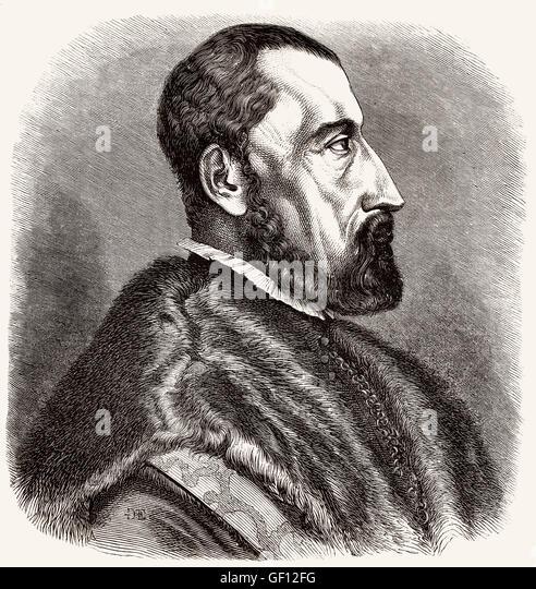 Ogier Ghiselin de Busbecq, Augerius Gislenius Busbequius, 1522-1592, a Flemish writer, herbalist and diplomat - Stock-Bilder