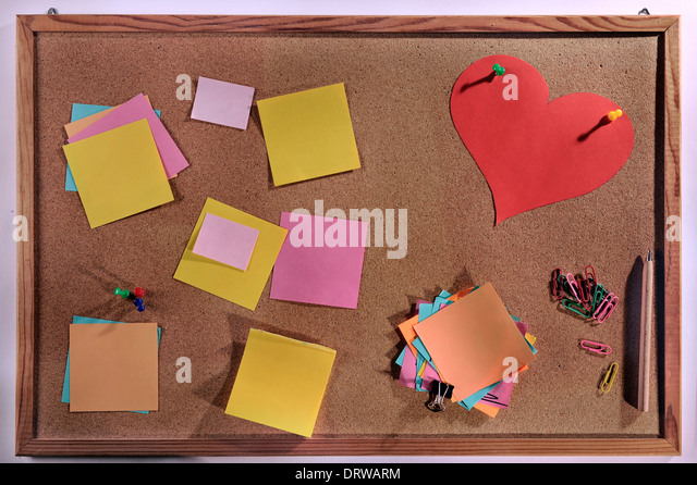 Heart shape post it notes stock photos heart shape post for Heart shaped bulletin board