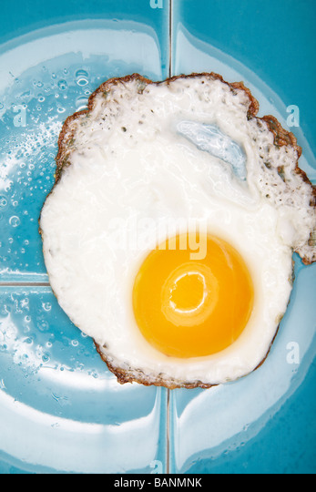Fried egg on blue tile - Stock Image