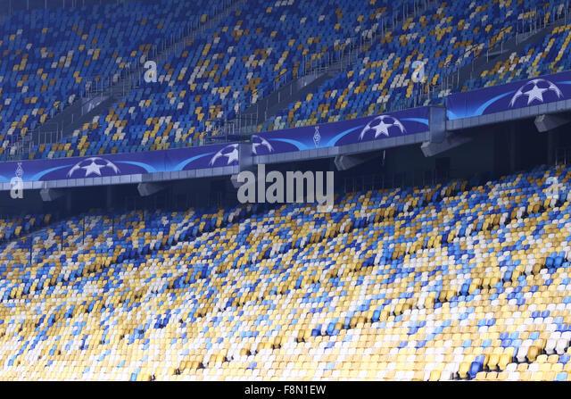 Kiev, Ukraine. 9th December, 2015. Empty tribunes of NSC Olimpiyskyi stadium during UEFA Champions League game FC - Stock-Bilder