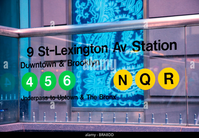 Clear Acrylic Subway Station sign in Midtown Manhattan, New York City USA - Stock Image