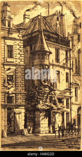 Charles Meryon, French (1821-1868), Tourelle de la Rue de la Tixéranderie, Paris (House with a Turret, Weavers' - Stock-Bilder