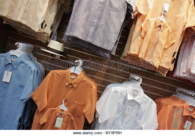 Miami Hialeah Florida Westland Mall Guayabera World retail display for sale clothing fashion Cuban shirts shopping - Stock Image