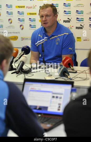 Pavel Vrba, coach of the Czech soccer team Viktoria Plzen speaks during press conference in Prague on November 21, - Stock Image