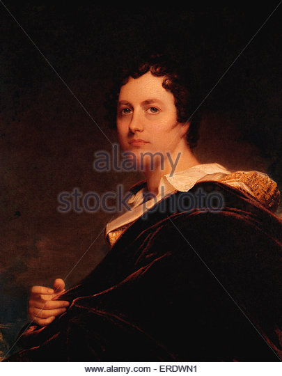 Lord Byron oil  painting by W E West. George Gordon Byron, 6th Baron Byron. British poet 22 January 1788 – 19 April - Stock Image