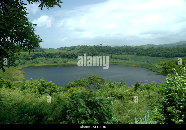Grenada Caribbean crater lake Lake Antoine National Park tourist attraction southern caribeban - Stock Image