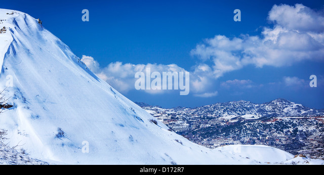 Picture of village in Faraya mountain in Lebanon, high hill covered white snow, luxury ski resort, wild winter nature - Stock Image