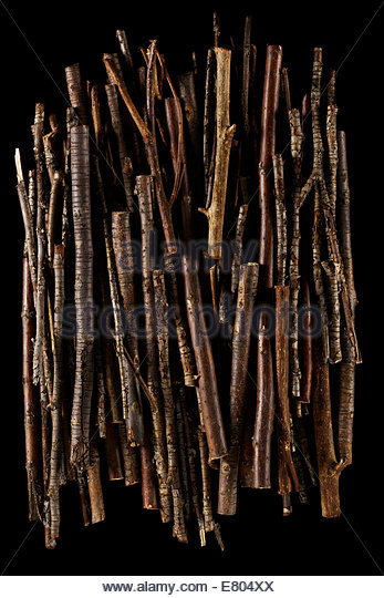 Dried tree branches, sticks and twigs stack & piled texture background - Stock Image