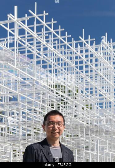 Sou Fujimoto at Serpentine Pavillion 2013, Kensington Gardens London, UK - Stock Image
