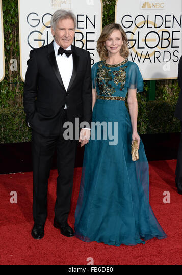 Los Angeles, California, USA. 10th January, 2016. Harrison Ford and Cailista Flockhart  arrives at the Golden Globes, - Stock Image