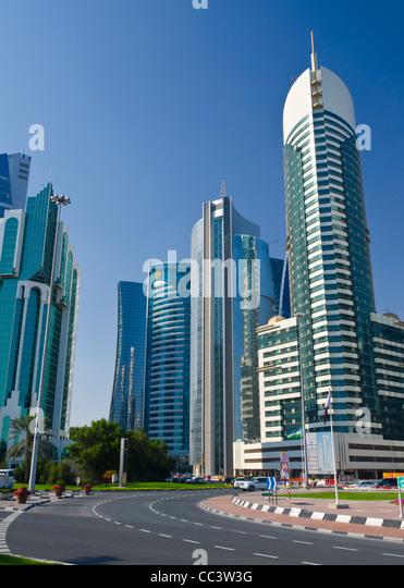 Qatar, Doha, Corniche,modern buildings beside Sheraton Roundabout - Stock Image