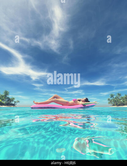 Woman relaxing on a pink water mattress in the sea. This is a 3d render illustration - Stock Image
