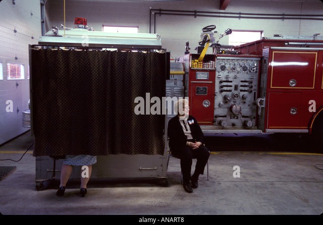 New Jersey Fairfield voting booth firehouse election day political process democracy - Stock Image
