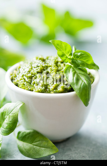 basil pesto - Stock Image
